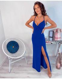 Тъмно синя дълга рокля с цепка - код 600