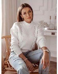 Дамски пуловер в бяло - код 2729