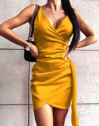 Атрактивна дамска рокля в жълто - код 4678