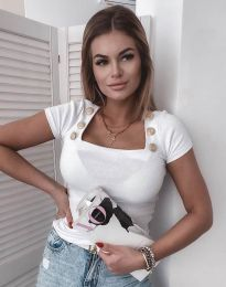Дамска блуза рипс в бяло - код 4558