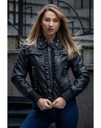 Дамско черно кожено яке - код 9350