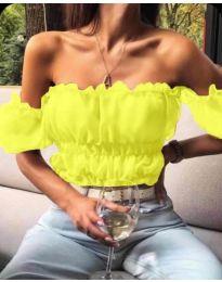 Дамска блуза с голи рамене в жълто - код 060