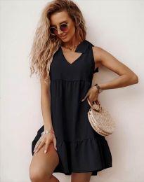 Свободна къса рокля в черно - код 7206