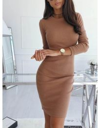 Изчистена рокля по тялото в кафяво - код 3524