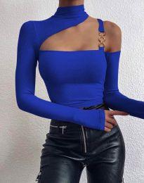 Екстравагантна дамска блуза в синьо - код 0451