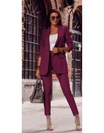 Дамски комплект от сако и панталон в цвят бордо - код 709