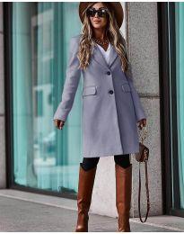 Дълго дамско палто  в сиво - код 4554
