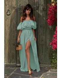 Дълга рокля с цепка в цвят тюркоаз - код 3336