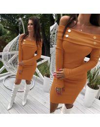 Кафява рокля с паднало деколте и дълги ръкави - код 262
