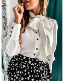 Елегантна дамска риза в бял цвят - код 971