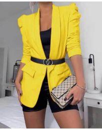 Дамско елегантно сако в жълто - код 680