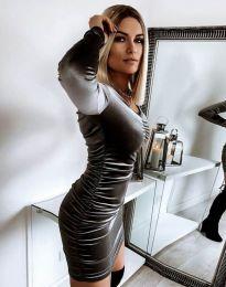 Къса елегантна рокля в цвят графит - код 12080