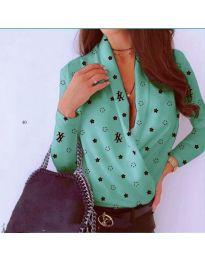 Дамска риза-боди в цвят мента с декоративни звезди - код 649