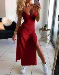 Дълга лятна рокля в червено - код 4754