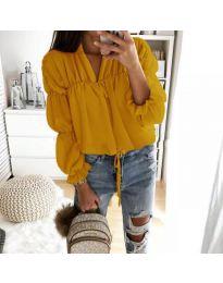 Дамска риза с набори и връзки в цвят горчица - код 892