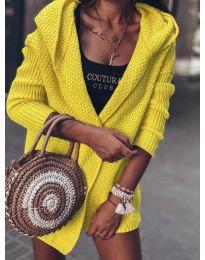 Къса плетена жилетка в цвят горчица - код 7823