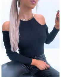 Дамска блуза с голи рамене в черно - код 4191