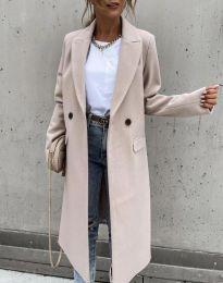 Дълго елегантно дамско палто с копчета в бежово - код 8746