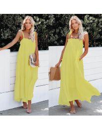 Дълга ефирна рокля в жълт цвят - код 551