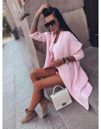Плетена жилетка в розово - код 4412