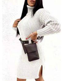 Дамска рокля с поло яка в бежово - код 6867