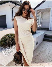 Дамска спортно-елегантна рокля в цвят шампанско - код 138