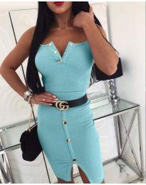 Еластична рокля по тялото в светло син цвят - код 116