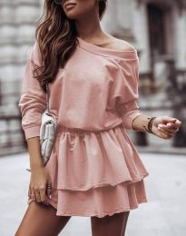Дамска рокля  в цвят пудра  - код 0525