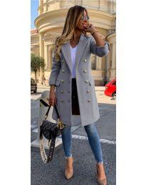 Дамско палто в сиво с метални копчета - код 793