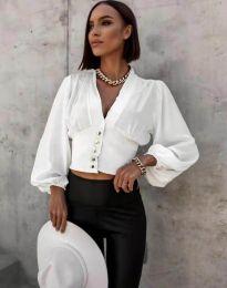 Екстравагантна дамска риза в бяло - код 2732