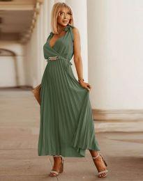Елегантна дамска рокля в масленозелено - код 5290