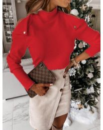 Екстравагантна дамска блуза в червено - код 1596