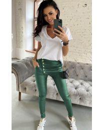 Дамски панталон в маслено зелено - код 954