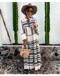 Дълга рокля с атрактивен десен в бяло и черно - код 3355-2