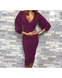 Елегантна рокля в тъмно лилаво - код 8706