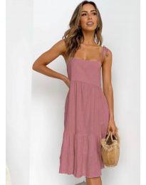Дамска рокля в цвят пудра - код 630