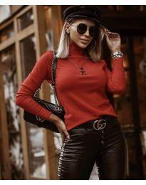 Дамска блуза с поло яка в цвят корал - код 8861