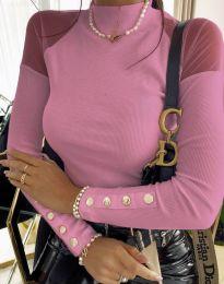 Дамска блуза с ефектни ръкави в светлорозово - код 2771