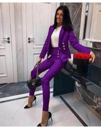 Комплект от сако и панталон - код 889 - тъмно лилаво