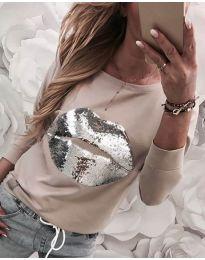 Ефектна дамска блуза в бежово - код 3963