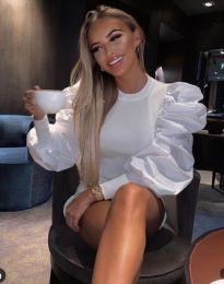 Бяла дамска блуза с ефектни ръкави - код 3506