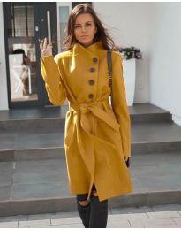 Стилно дълго палто в цвят горчица - код 642