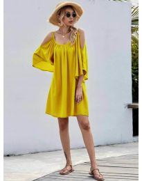 Свободна изчистена рокля в жълто - код 3022