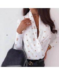Дамска риза-боди в бял цвят и декоративни звезди - код 649