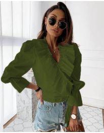 Изчистена дамска риза в маслено зелено - код 1167