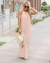 Дълга дамска рокля в цвят праскова - код 6258