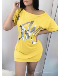 Дамска рокля в цвят жълто - код 1100