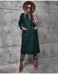 Дълго дамско палто в  маслено зелено - код 9493
