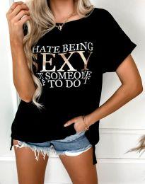 Дамска тениска в черно - код 4578