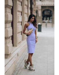 Стилна рокля по тялото в лилаво - код 754